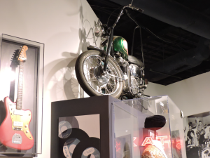 Sam The Sham's bike and his hat and guitar. I learned a lot at this museum.