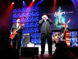 "Mike on stage at The 2015 Blues Award show in Memphis with Sugar Ray & The Bluetones Mike said that ""Sugar decided to go DEEP for our set""  (and it was the outstanding set of the night).  -photo by Diana Shonk"