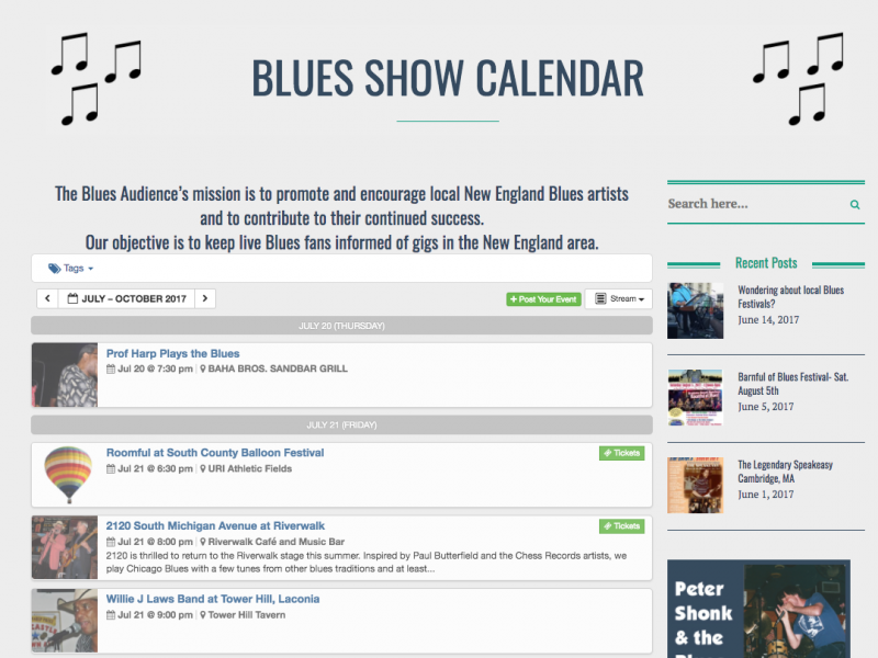 Blues Show Calendar